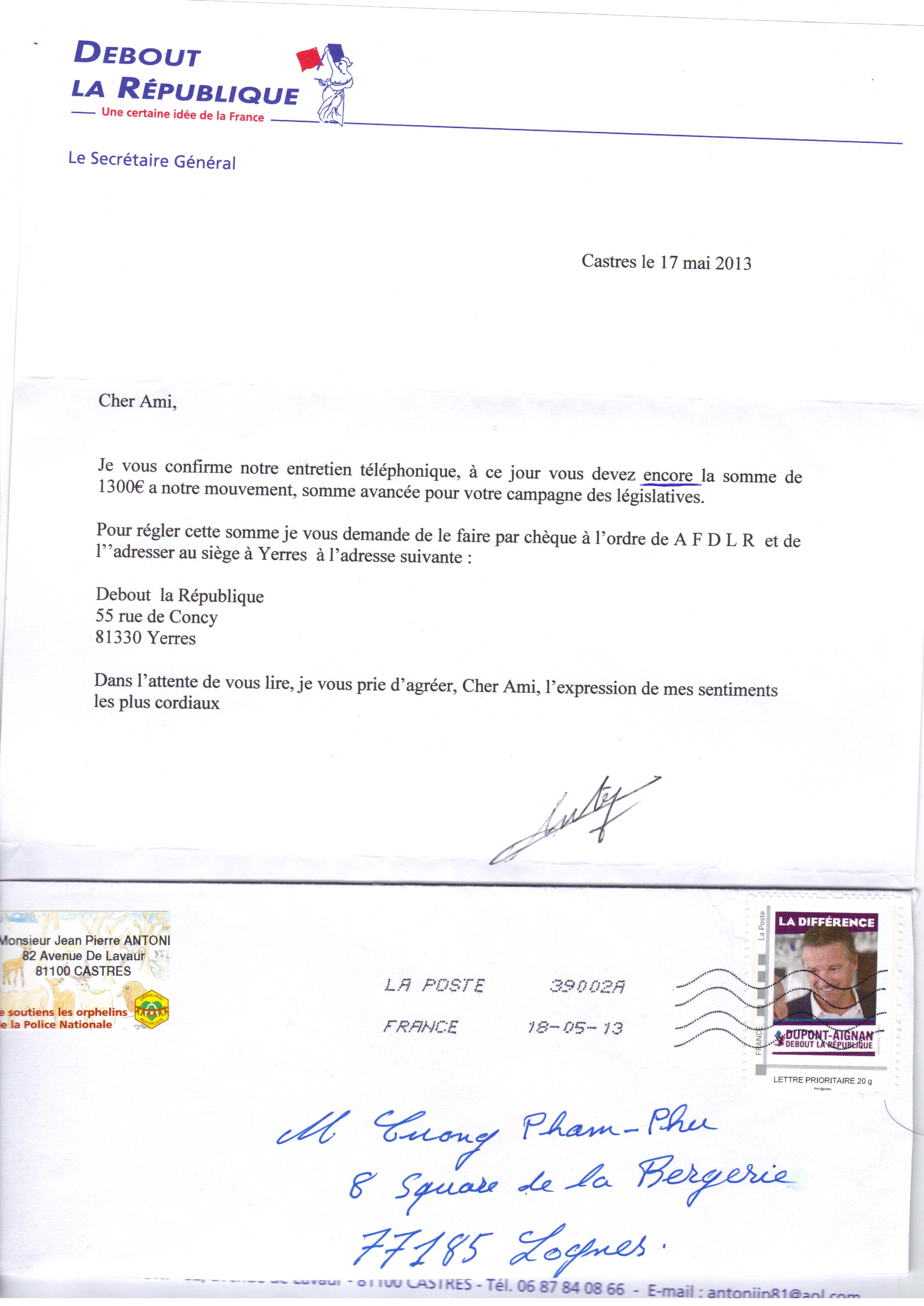 paiement DLR lettre
