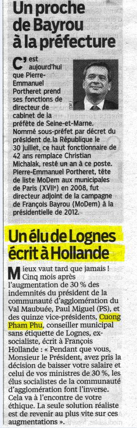 Le Parisien 77 ce matin lundi 26 août  Cuong Pham Phu écrit à Hollande