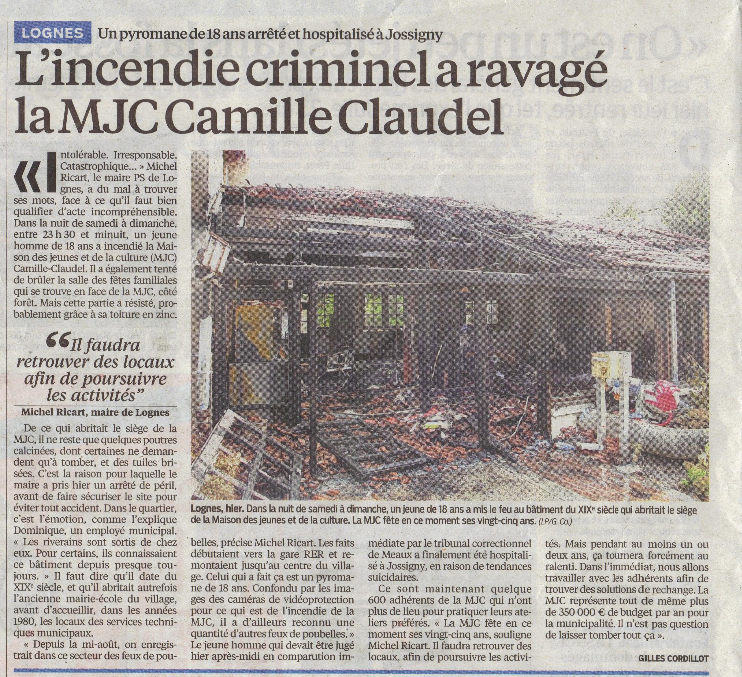 l'incendie MJC Lognes