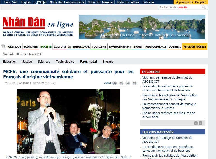 Cuong PHAM PHU dans le journal Nhân Dân